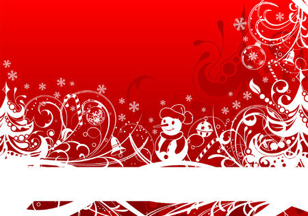 Christmas Frame with Tree and Snowman, element for design, vector illustration Vector