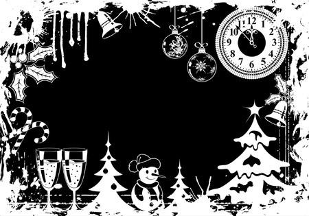 Grunge Christmas frame with Tree, Snowman and decoration element, vector illustration Vector
