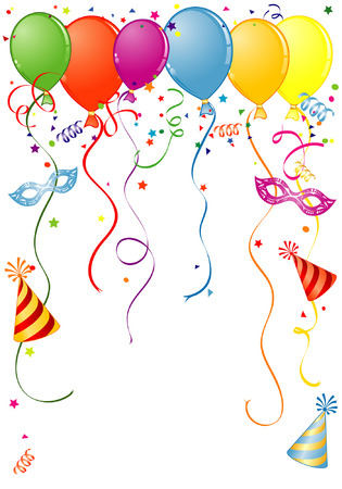 verjaardag frame: Verjaardag frame met ballon streamer en carnaval masker, element voor ontwerp, vector illustratie