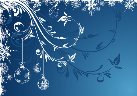 Grunge Floral Christmas Frame with snowflakes and bauble, element for design Stock Vector - 5986986