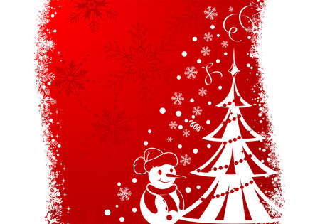 Christmas Frame with Tree and Snowman, element for design Vector