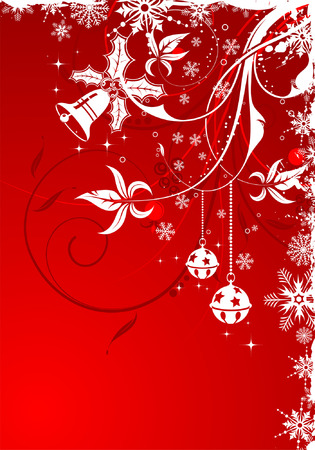 Grunge Floral Christmas Frame with snowflakes and bauble, element for design Vector