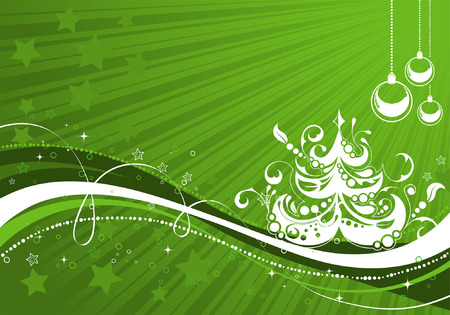 Christmas background with tree and wave pattern, element for design Vector