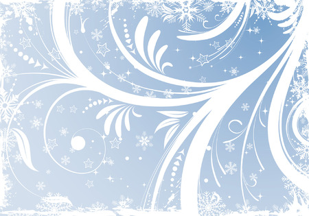 Grunge Floral Christmas Background with snowflakes, element for design Stock Vector - 5987034