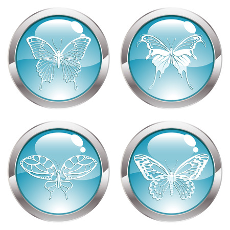 gloss: Four Gloss Button with Butterfly icon