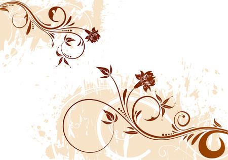 Grunge Floral background per il design, illustrazione vettoriale