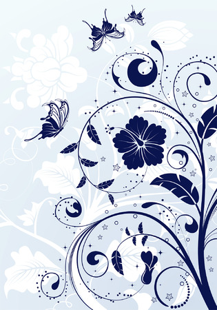 floral vector: Floral Background with butterfly, element for design, vector illustration