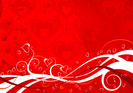 Valentines Day background with Hearts and wave pattern, element for design, vector illustration Stock Vector - 6344519