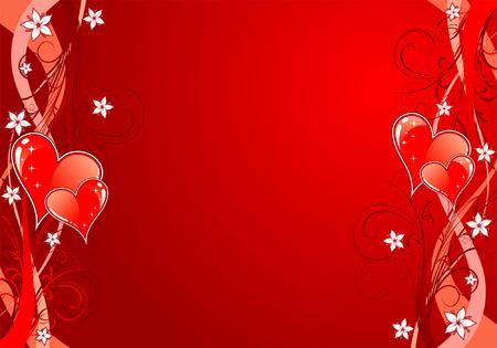 Valentino sfondo con cuori e motivo floreale, elemento di design, illustrazione vettoriale