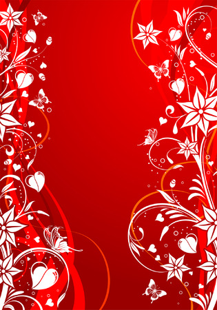 Valentines Day background with Hearts and floral pattern, element for design, vector illustration Vector