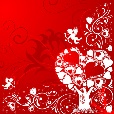 Valentines Day background with Tree and Cupid, element for design, vector illustration Vector
