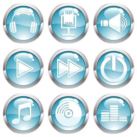 Set music circle button with Headphones, note, speaker icon, vector illustration Stock Vector - 6344503