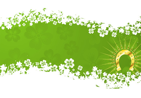 St. Patricks Day grunge frame with gold horseshoe and wave pattern Vector