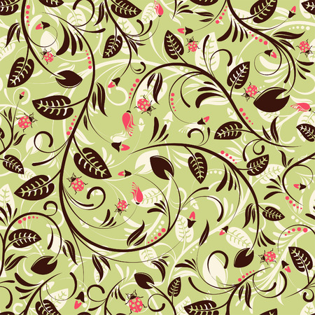 Flower seamless pattern with ladybug, element for design,   illustration Stock Vector - 7685536