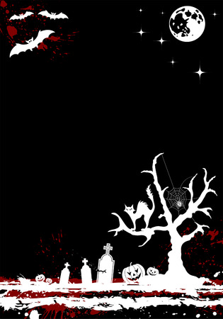 Grunge Halloween background with tree and moon, element for design,   illustration Vector