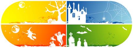 Four grunge Halloween frame with bat, pumpkin, witch, ghost, element for design,   illustration Vector