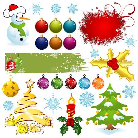Big set elements for Christmas design,   illustration Vector