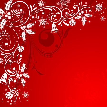 Christmas Frame with snowflakes and holly berry, element for design,  illustration Vector