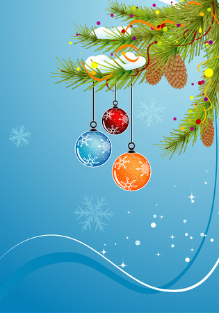 Christmas background with baubles, element for design,  illustration Vector