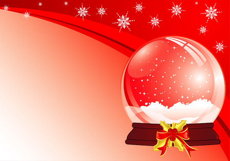 Christmas Background with snow globe Vector