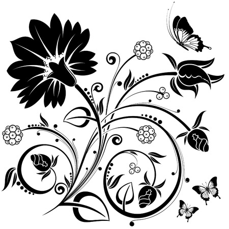 flowers silhouette: Floral Background with butterfly, element for design, illustration
