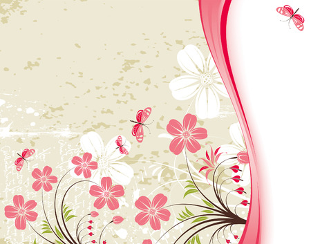 Grunge Floral Background with butterfly, element for design,  illustration Vector