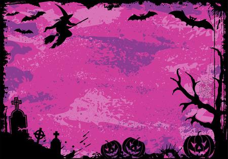 Grunge Halloween frame with bat, pumpkin, witch, element for design,  illustration Vector