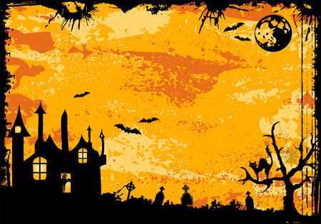 Grunge Halloween frame with bat, ghost, element for design,   illustration Vector