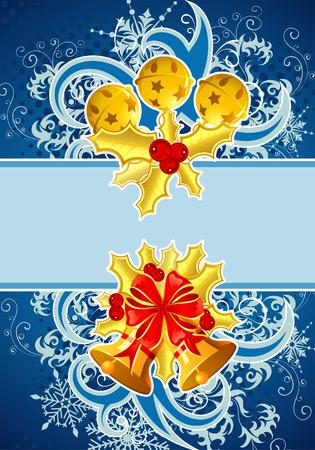 Christmas frame with bell and mistletoe, element for design, illustration Stock Vector - 7830561