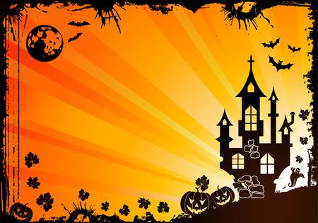 Grunge Halloween frame with bat, ghost, element for design,   illustration Vector