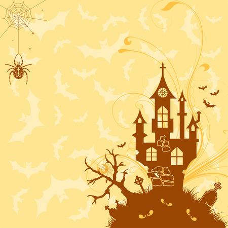 Halloween background with bat and castle, element for design,  illustration Vector