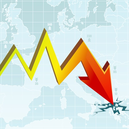 stock market crash: Graph of the Economic Crisis on the European map with the worst rate in Greece