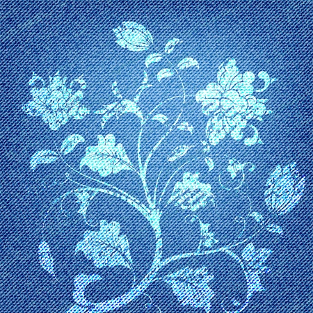 cotton flower: Jeans Texture with Flower ornament, vector illustration