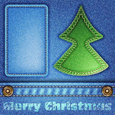 Jeans Texture with Christmas Tree and Frame, vector illustration Vector