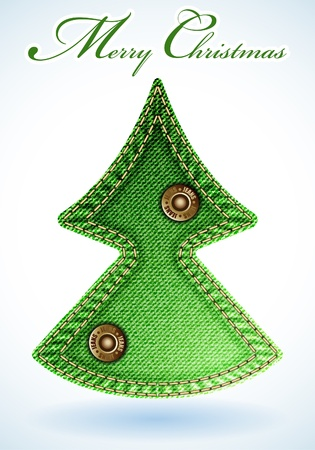 Stylized Christmas Tree out of Denim Textures Vector