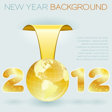 New Year background with stylized 2012 with Earth, element for design Stock Vector - 11226402