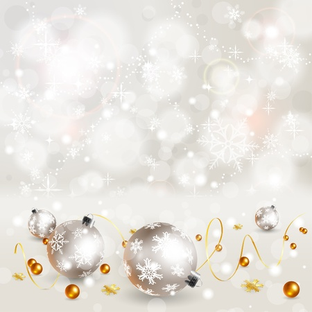 traditional silver wallpaper: Christmas Background with Snowflakes and Bauble, element for design, vector illustration Illustration