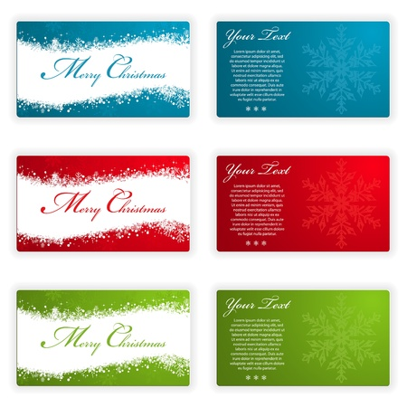 visiting: Collect Christmas Cards with Snowflakes and Wave Pattern in Different Colors, element for design, vector illustration Illustration