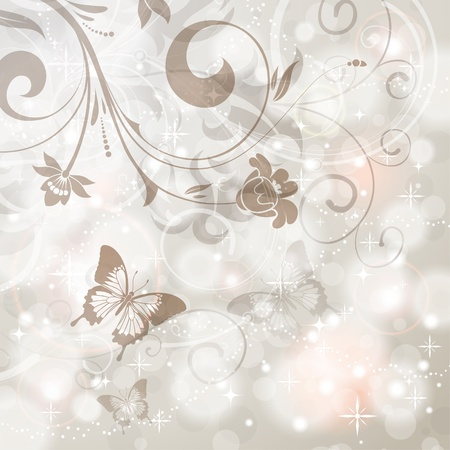 Floral Border with butterfly on the Bright Glowing Background, element for design, vector illustration Stock Vector - 11453284