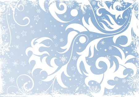Grunge Floral Christmas Background with snowflakes, element for design, vector illustration Stock Vector - 11453277