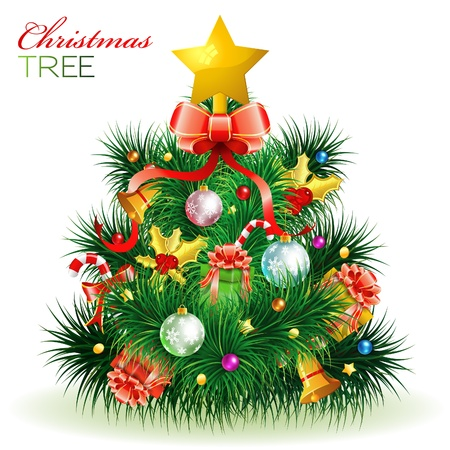 Christmas Tree with Candy, Fir Branches, Mistletoe, Gift, isolated on white, element for design, vector illustration Stock Vector - 11453285