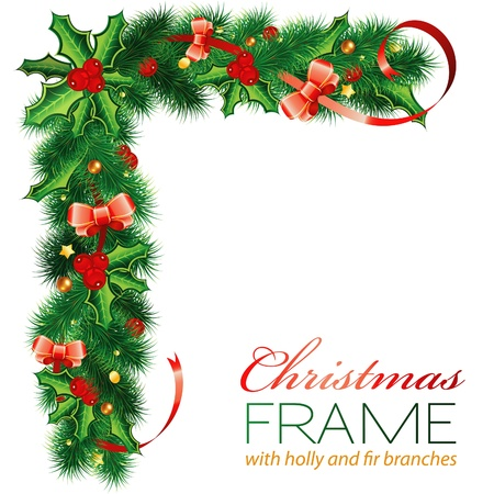 new corner: Christmas Frame with Holly Berry, Fir Branches, Mistletoe, Bow, element for design, vector illustration
