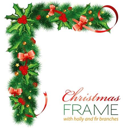 muerdago: Marco de la Navidad con Holly Berry, ramas de abeto, muérdago, el arco, elementos para el diseño, ilustración vectorial