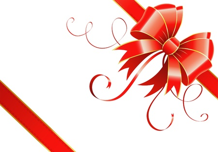 congratulate: Frame of the Bow and Ribbons on Holiday Isolated on White, vector illustration Illustration