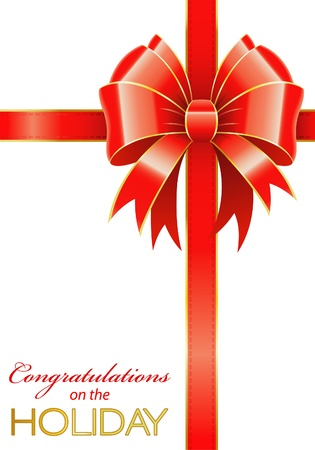 Frame of the Bow and Ribbons on Holiday Isolated on White, vector illustration Illustration