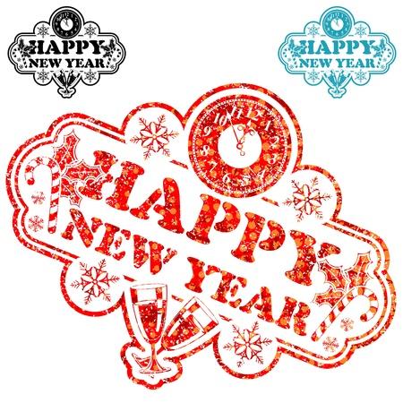 happy new year stamp: Sello del A�o Nuevo con el reloj y el vidrio aislado en blanco, ilustraci�n vectorial