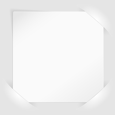 mounted: Sheet of white paper for your text or photos, mounted in pockets, template for design Illustration