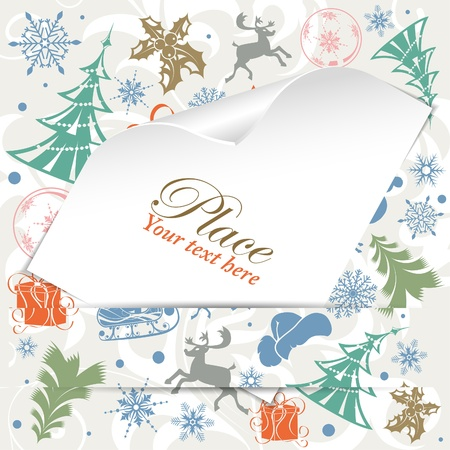 Christmas background with Blank Sheet of White Paper with Curved Corner, vector illustration Vector