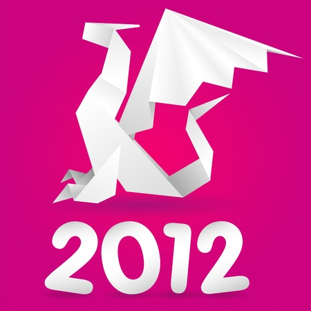 Origami Dragon with 2012 Year, element for design, vector illustration Vector
