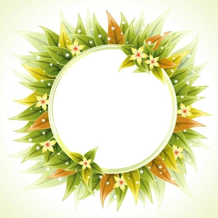 borde de flores: Marco de la Ronda de flores con hojas de una tarjeta de felicitación, ilustración vectorial Vectores